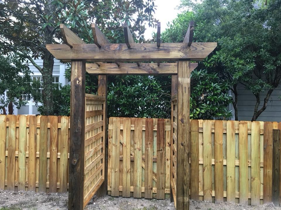 Custom Wood Fence and Gateway