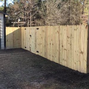 stockade wood fence with gate