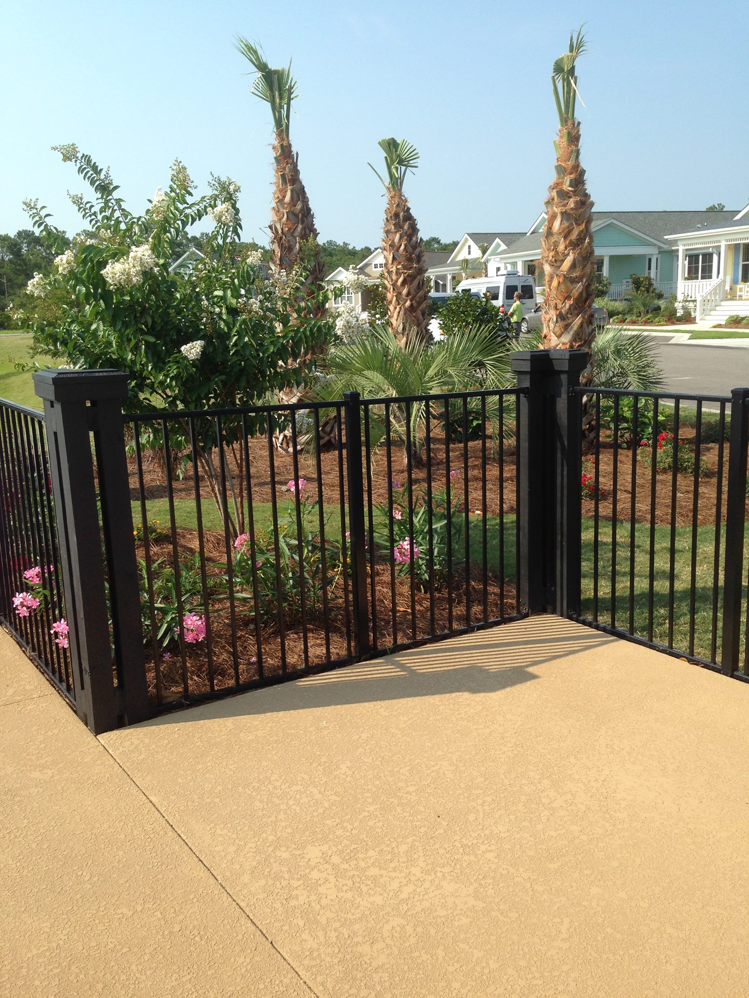black ornamental fencing around garden