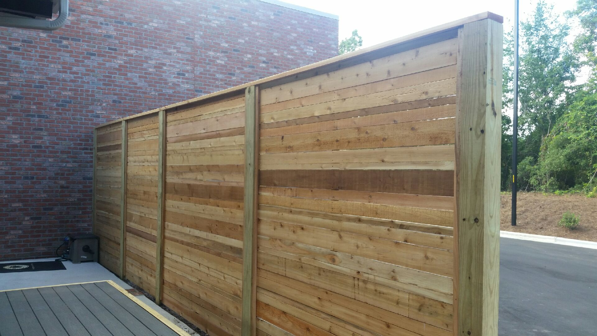 wooden fence on commercial property
